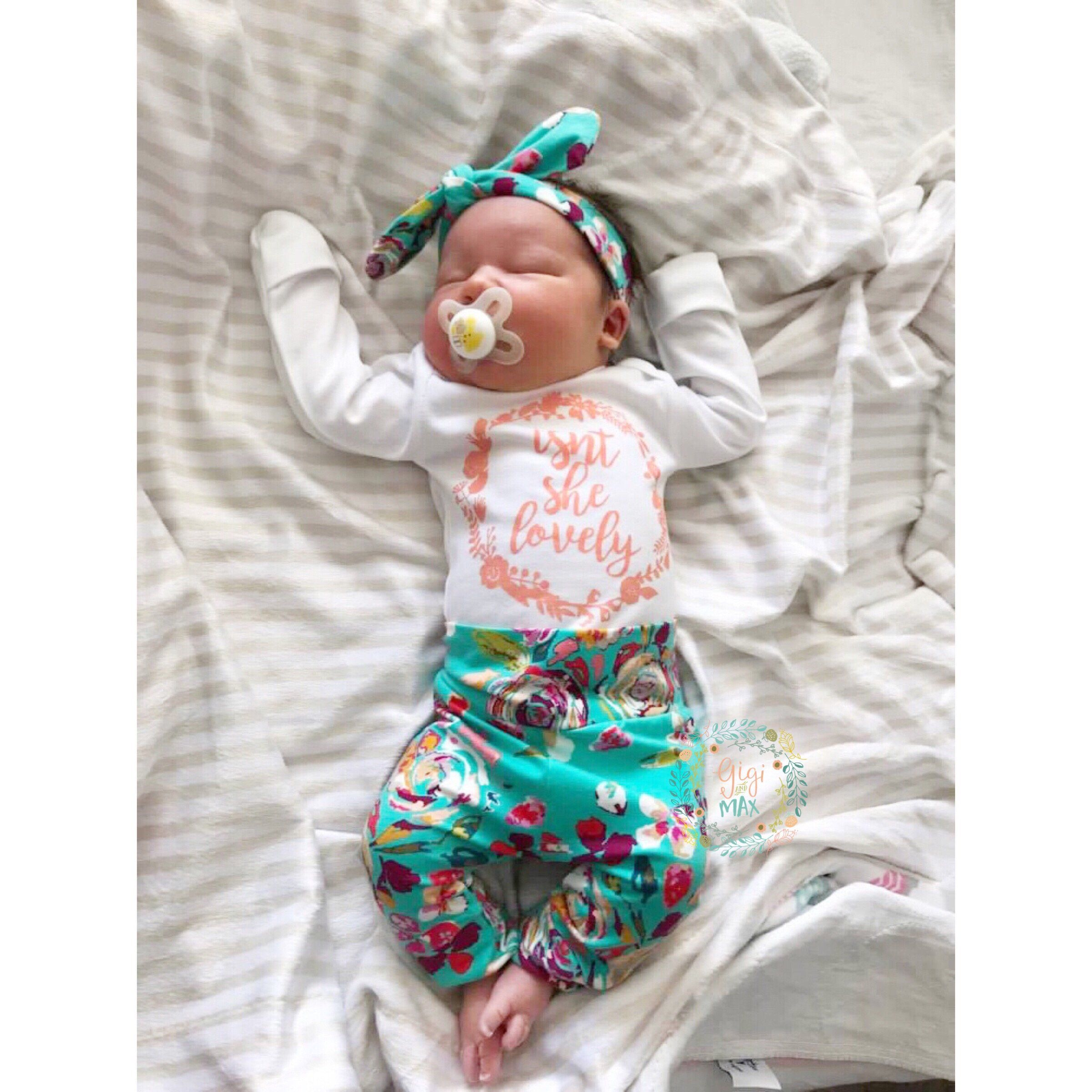 Teal Floral Isn\'t She Lovely Newborn Outfit   Onesie, Newborn ...