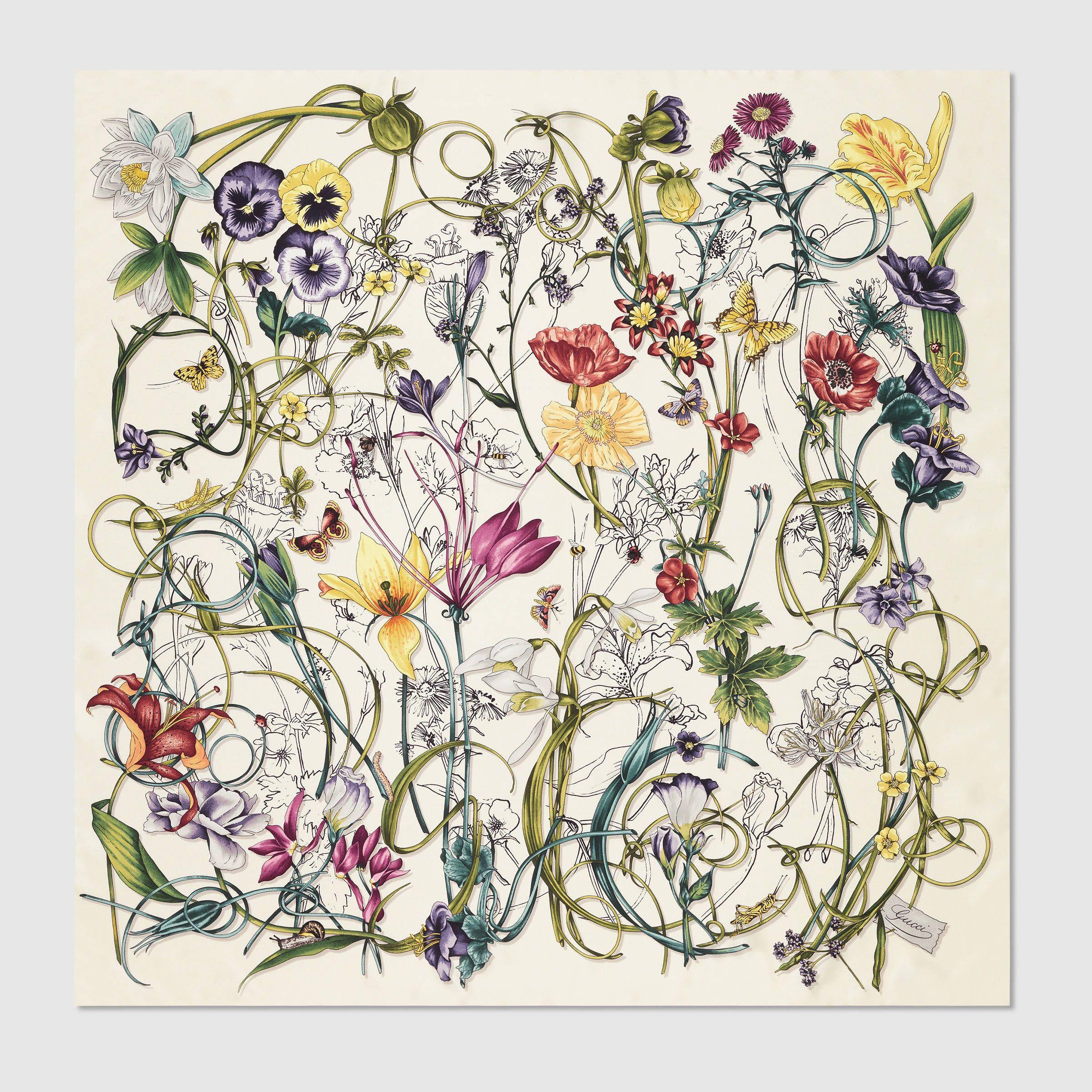 Gucci Women - Gucci Ivory Flora infinity print silk foulard -  440.00 4931227ff54b