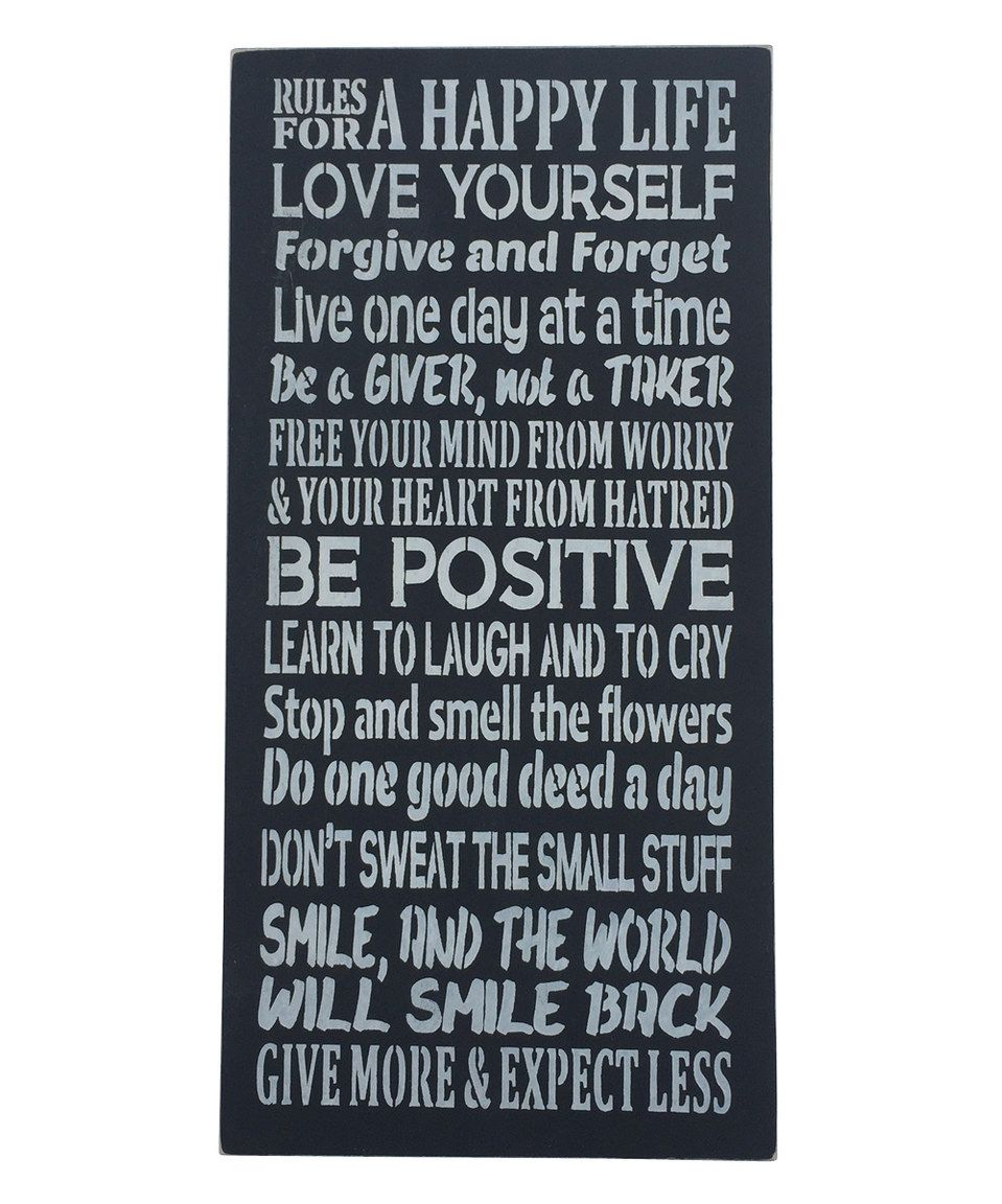 Another great find on #zulily! 'Rules for a Happy Life' Wall Sign by Sara's Signs #zulilyfinds