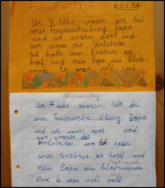"""Meine Schüler führen einen Ordner """"Texte"""", der von der ersten bis zur vierten Schulstufe aufbauend geführt wird. Texte deshalb, damit v..."""