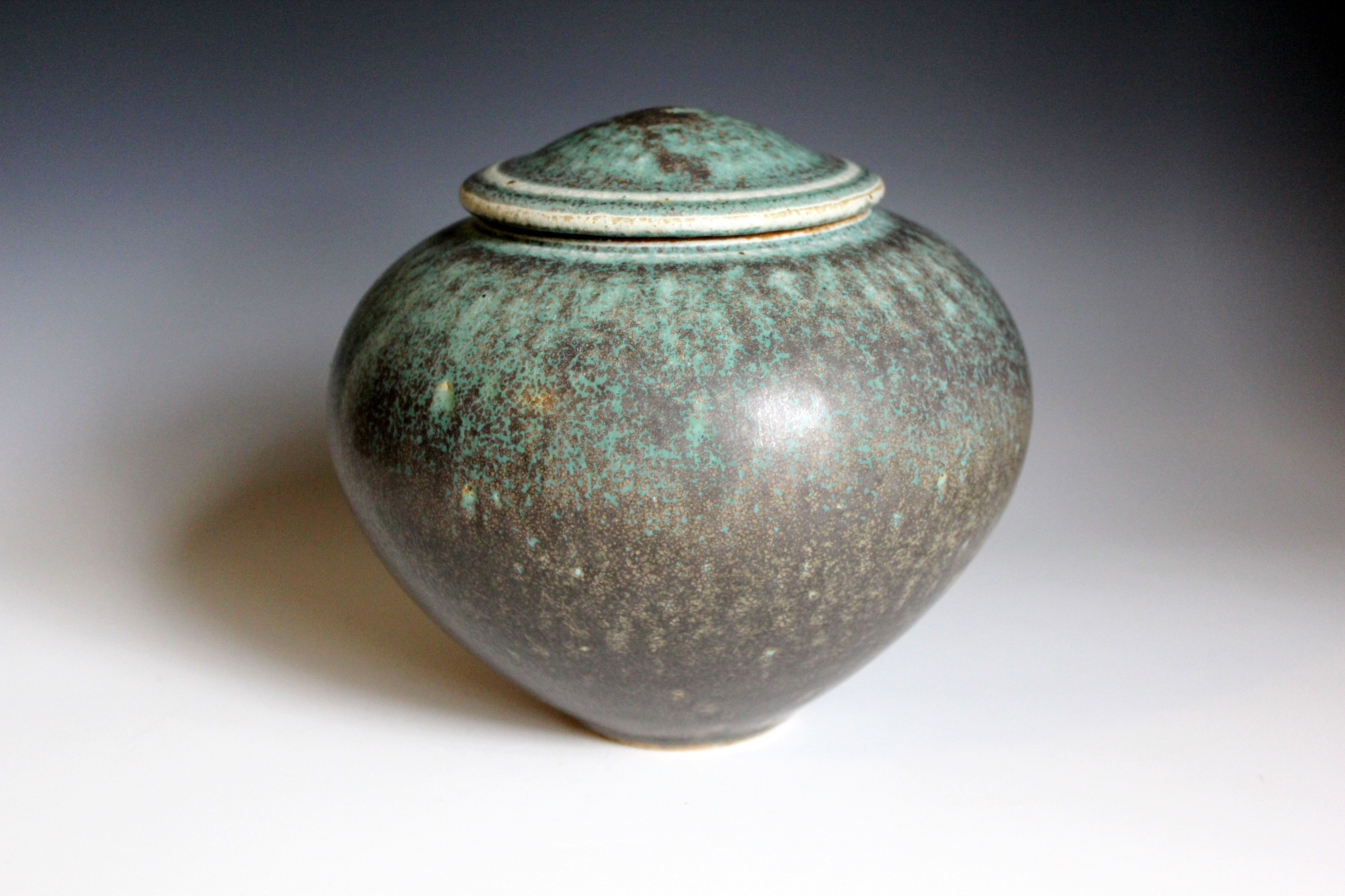 Turquoise Lidded container. Anthony Rollins