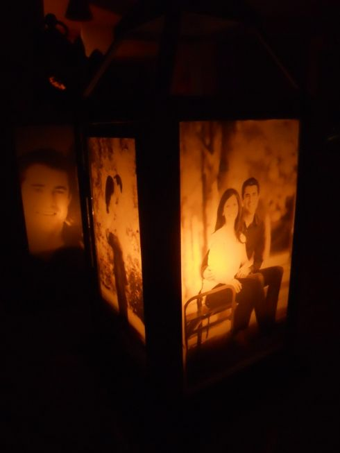 DIY Photo Lantern. These would make great table numbers/centerpieces at a wedding