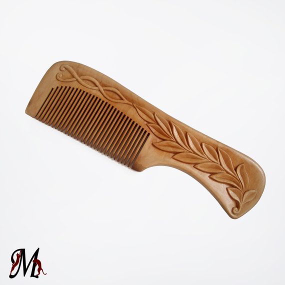 Wooden Hair Comb Personalized Cypress Wood By Mariya4woodcarving 20 00