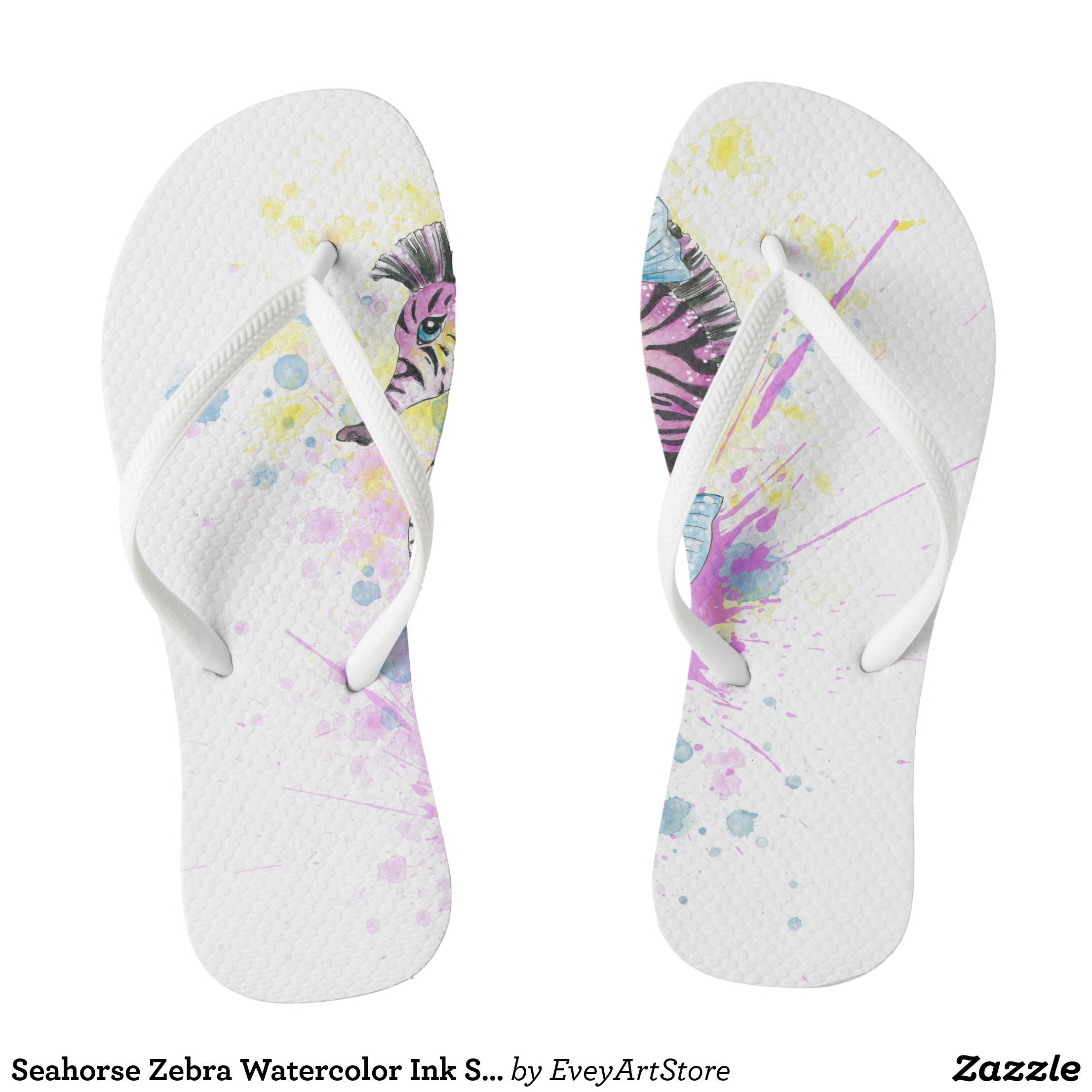 20cc34eb7a9a31 Seahorse Zebra Watercolor Ink Splash Flip Flops - Durable Thong Style  Hawaiian Beach Sandals By Talented
