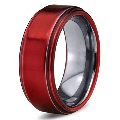 Red Anium Wedding Band Ring 8mm Chroma Colored For Men Women
