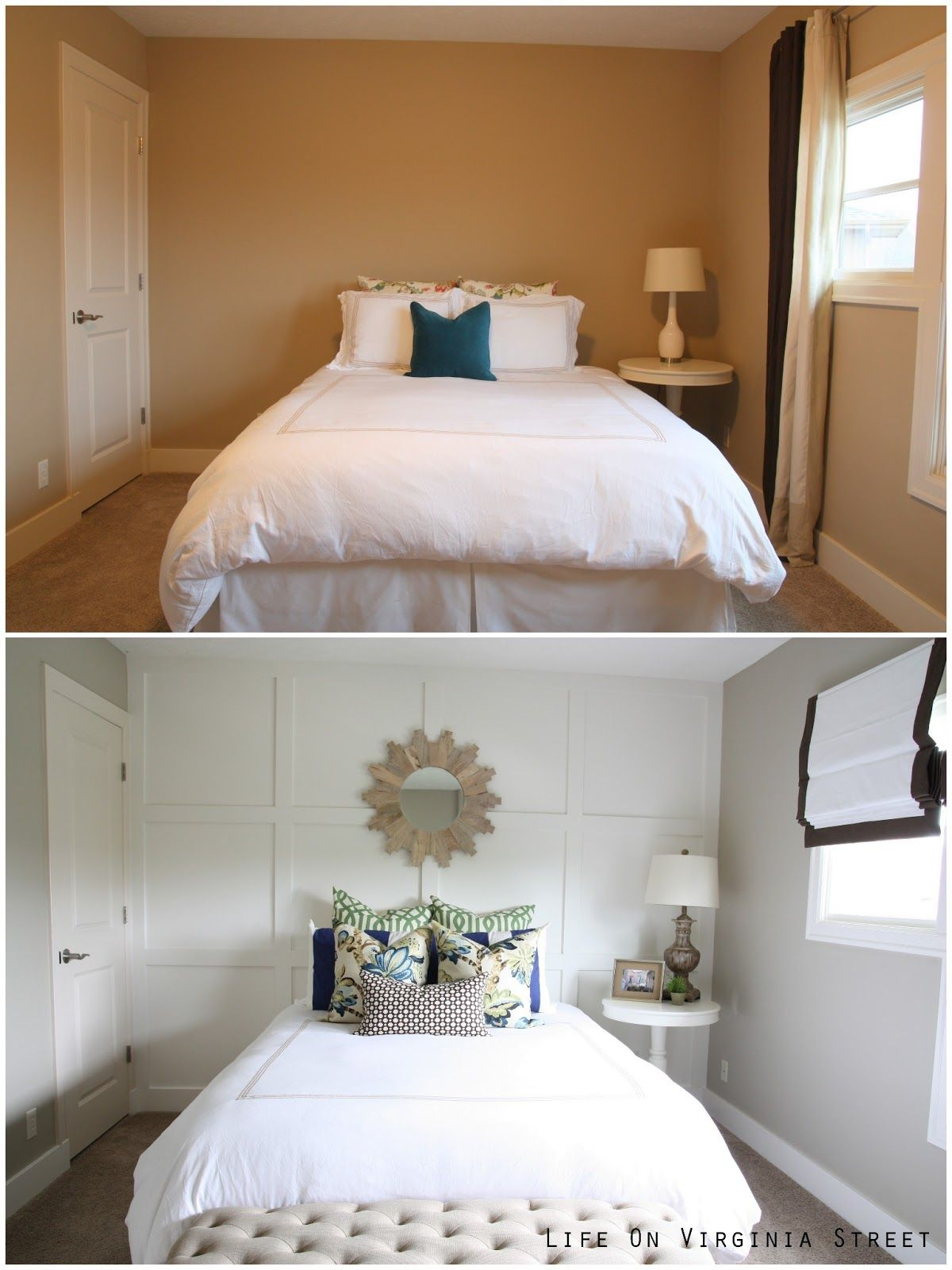 Master bedroom feature wall  Styling Your Queen Guest Bedroom Reveal  Bedrooms Walls and Master