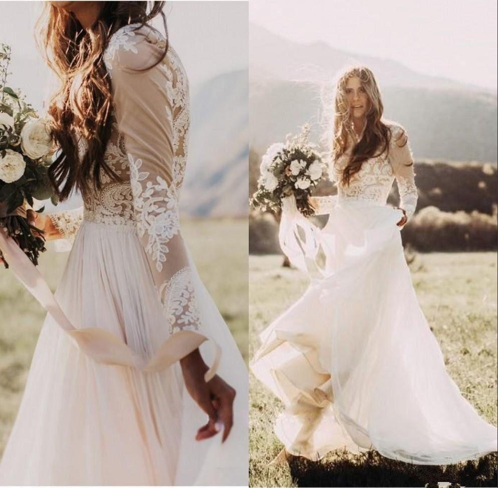 Scoop Neck Wedding Dress Long Sleeve A-Line Lace Chiffon Boho Bridal ...