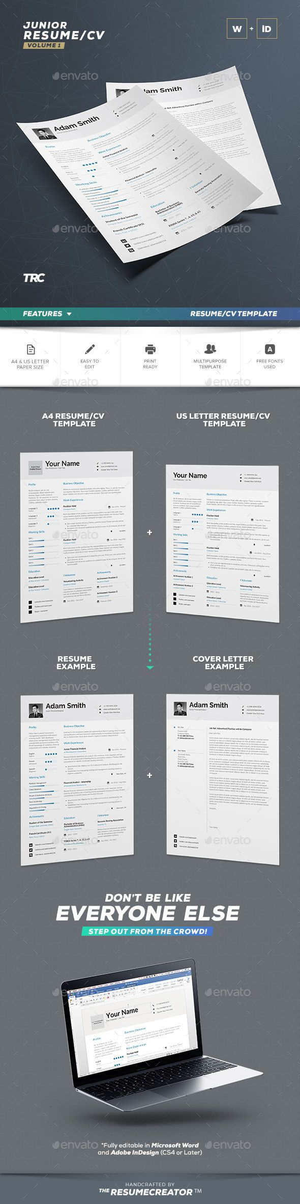 Download Free Resume Template For Word%0A Resume   Cv Template  Word And Indesign