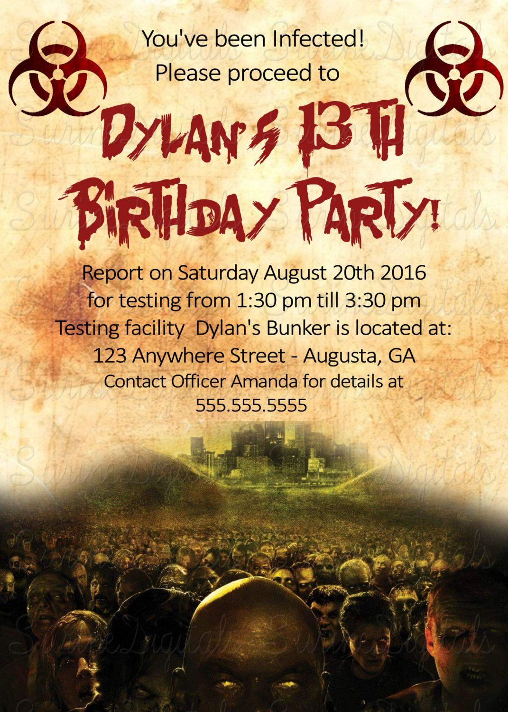 Zombie Apocalypse Dead walk again Birthday Party Invitation Zombie