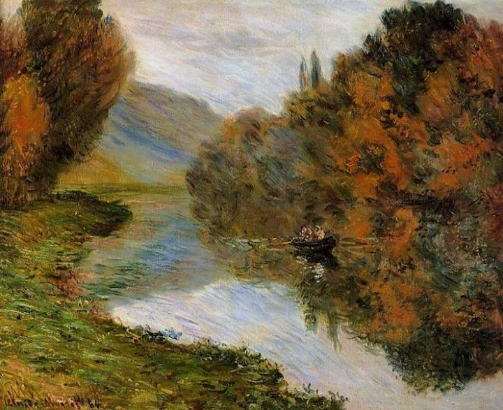 """""""Rowboat on the Seine at Jeufosse"""" (1884) By Claude Monet, from France (1840 - 1926) - oil on canvas; 60 x 74 cm - [Impressionism] Place of creation: Jeufosse, France (Jeufosse is a commune in the Yvelines department in the Île-de-France region in north-central France) Private Collection"""