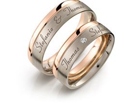 Outside Engraving With Diamond One Ring White And Black Wedding Rings