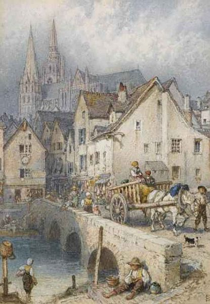Chartres, watercolor with bodycolor by Myles Birket Foster, 1825-1899, British illustrator, watercolorist, artist and engraver of the Victorian period. T