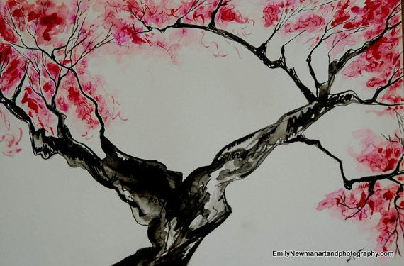 Contemporary Landscape Red Flower Japanese Cherry Blossom Tree Asian Abstract Art Watercolor 18x12 Original Japanese Art Cherry Blossom Art Japanese Art Modern