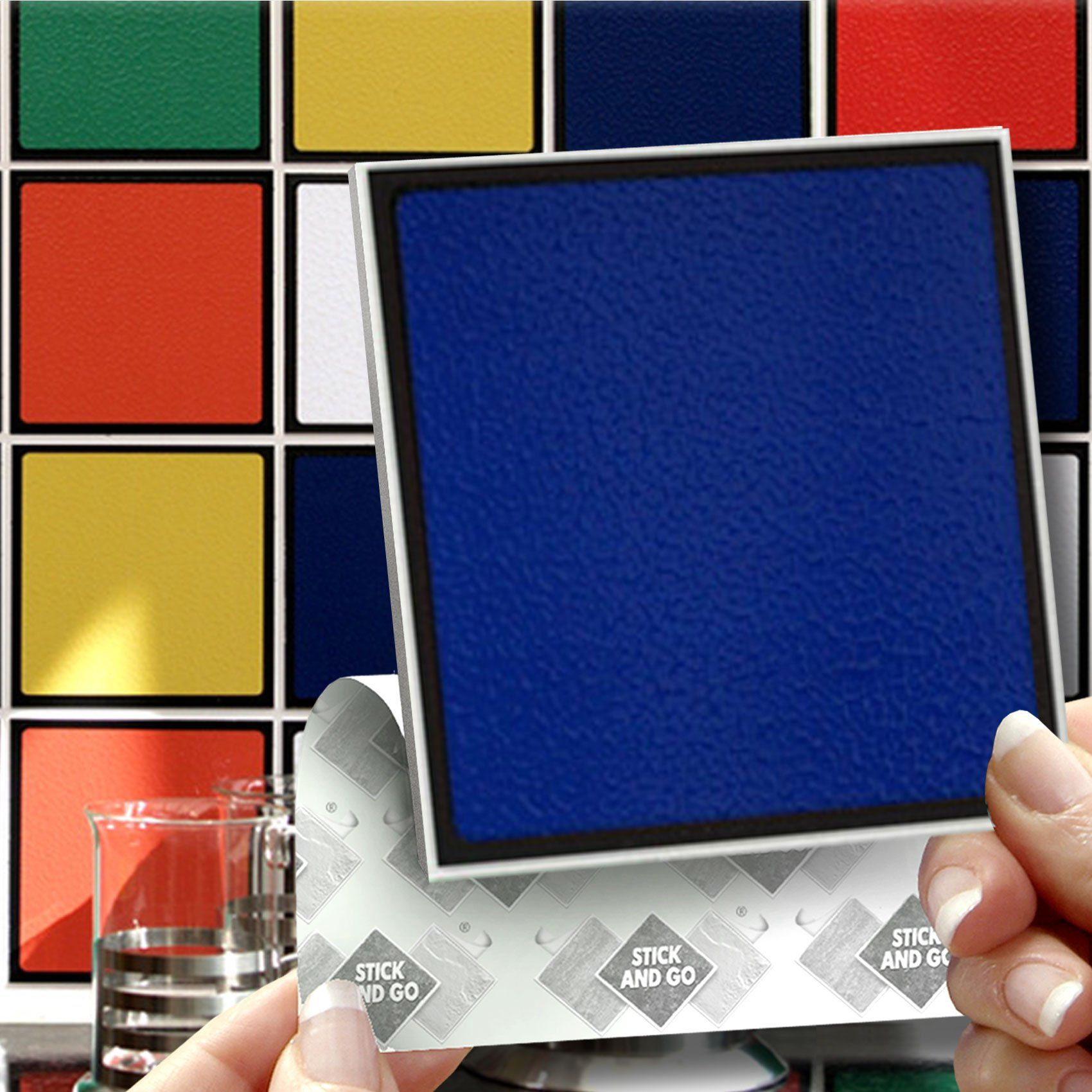 RUBIX EFFECT WALL TILES: Box of 18 tiles Stick and Go Wall Tiles 4 ...