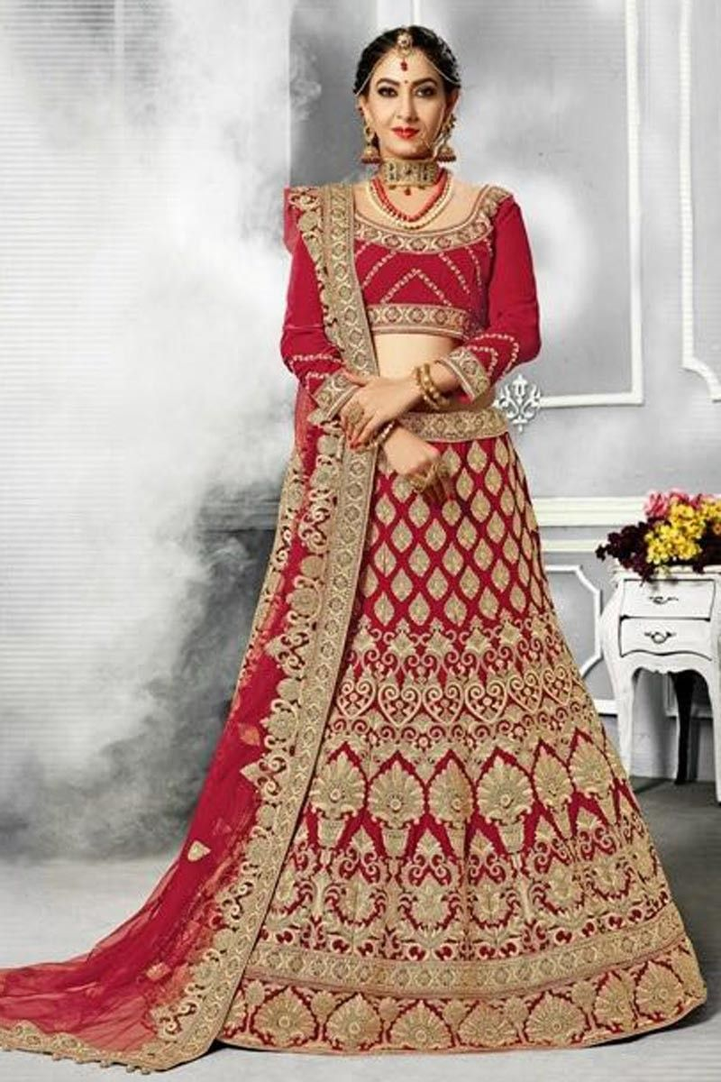 9ffaf0185a Embroidered Red Designer Bridal Lehenga In Velvet Fabric With Artictic Choli