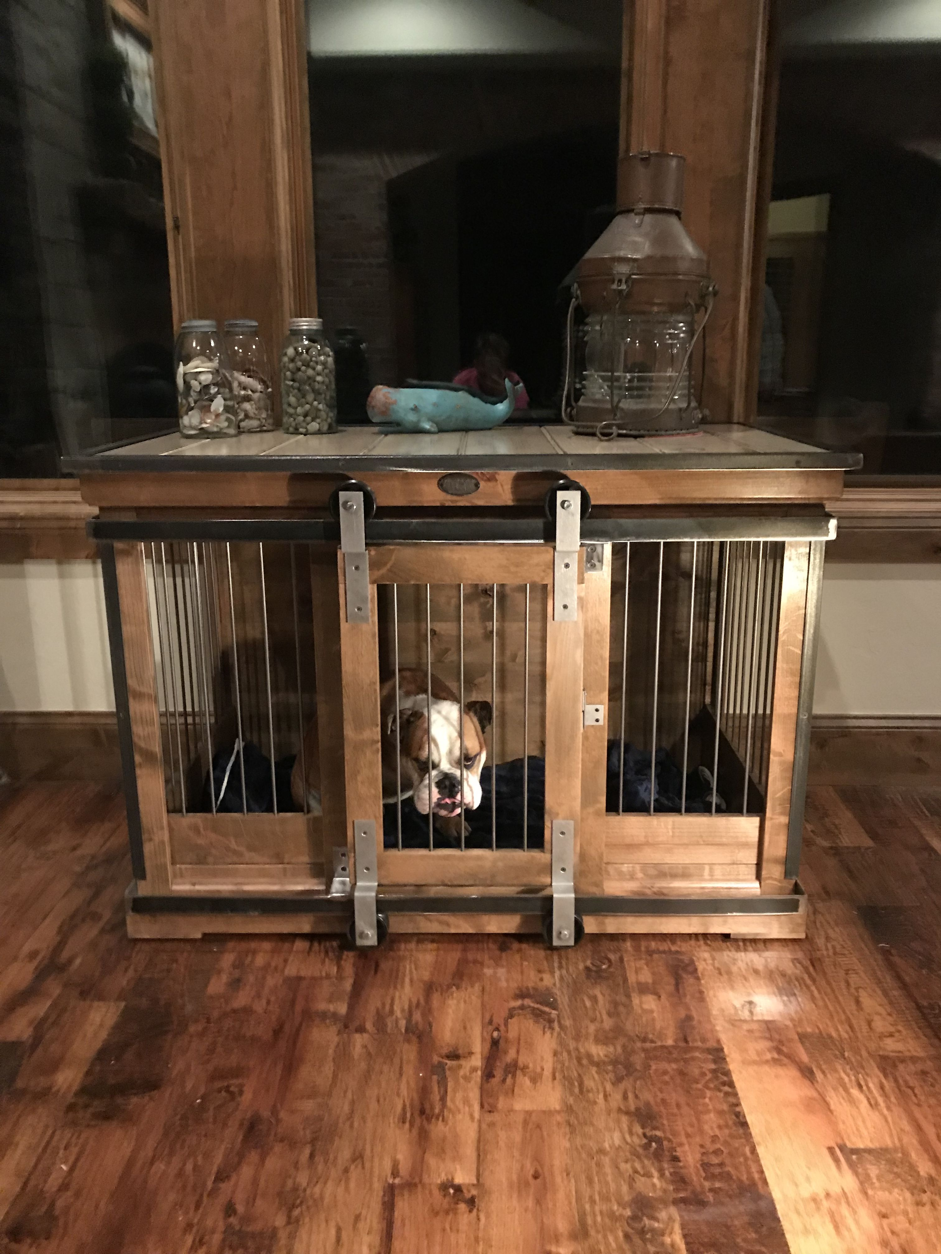 Custom Indoor Dog Kennel Handcrafted With Alder And Metal Xl Single Kennel We Weld All Piece In Our Shop At Kennel A Indoor Dog Kennel Dog Kennel Indoor Dog