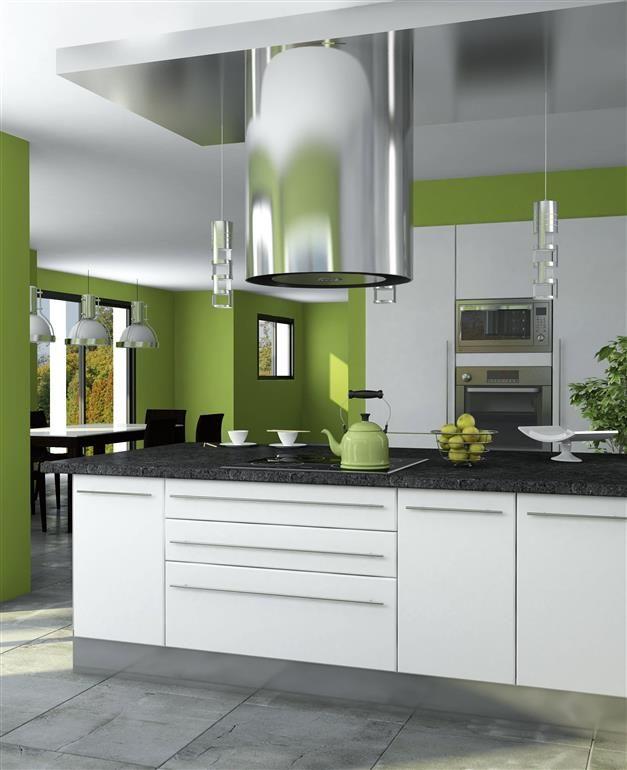 Green Cuisine Zolpan Intensement Couleurs Peinture Zolpan Cuisine Vert Blanc Cuisine Americaine Cuisine Moderne Grise Decoration Cuisine