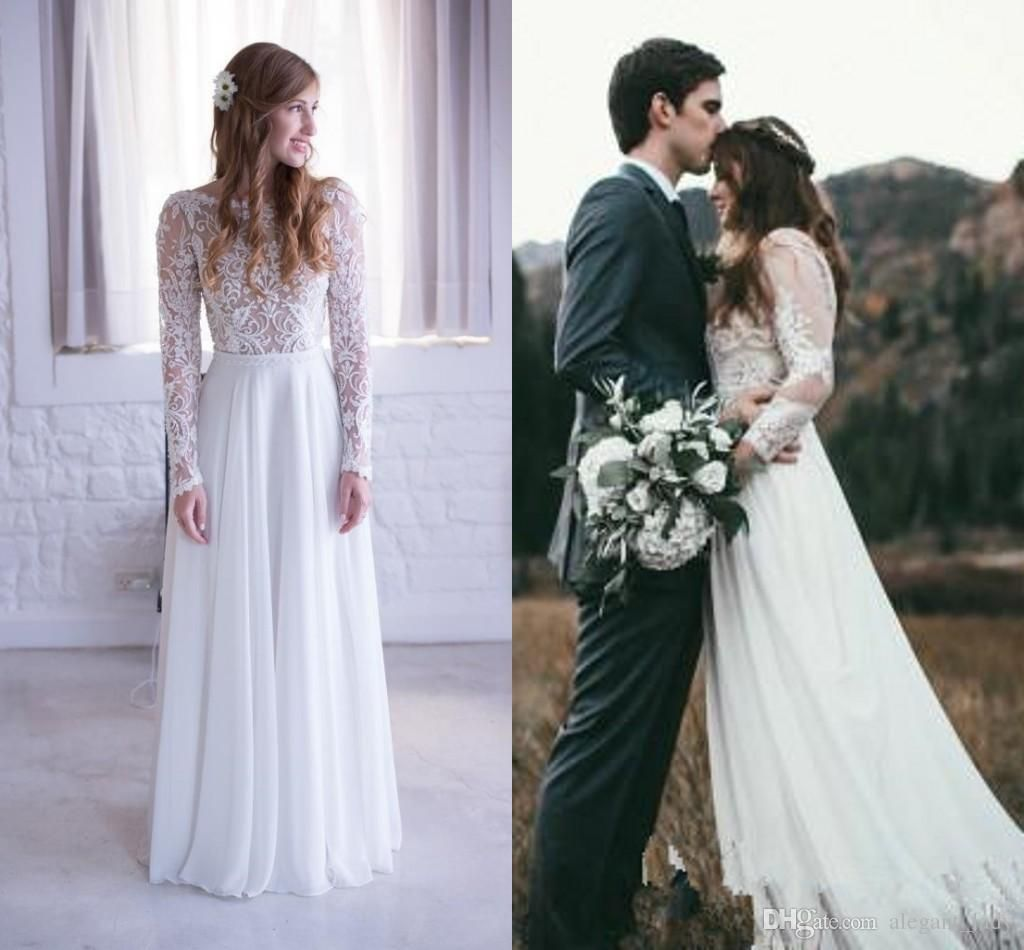 Romantic bohemian a line wedding dresses with sheer long sleeves