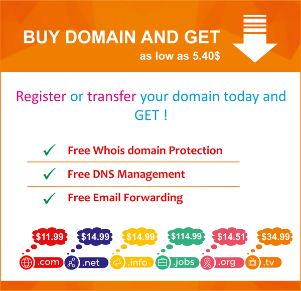 Register Or Transfer Your Domain Name With Us And Get Free For One Year Free Whois Domain Protection Free Dns Ma Free Email Email Forwarding Software Support