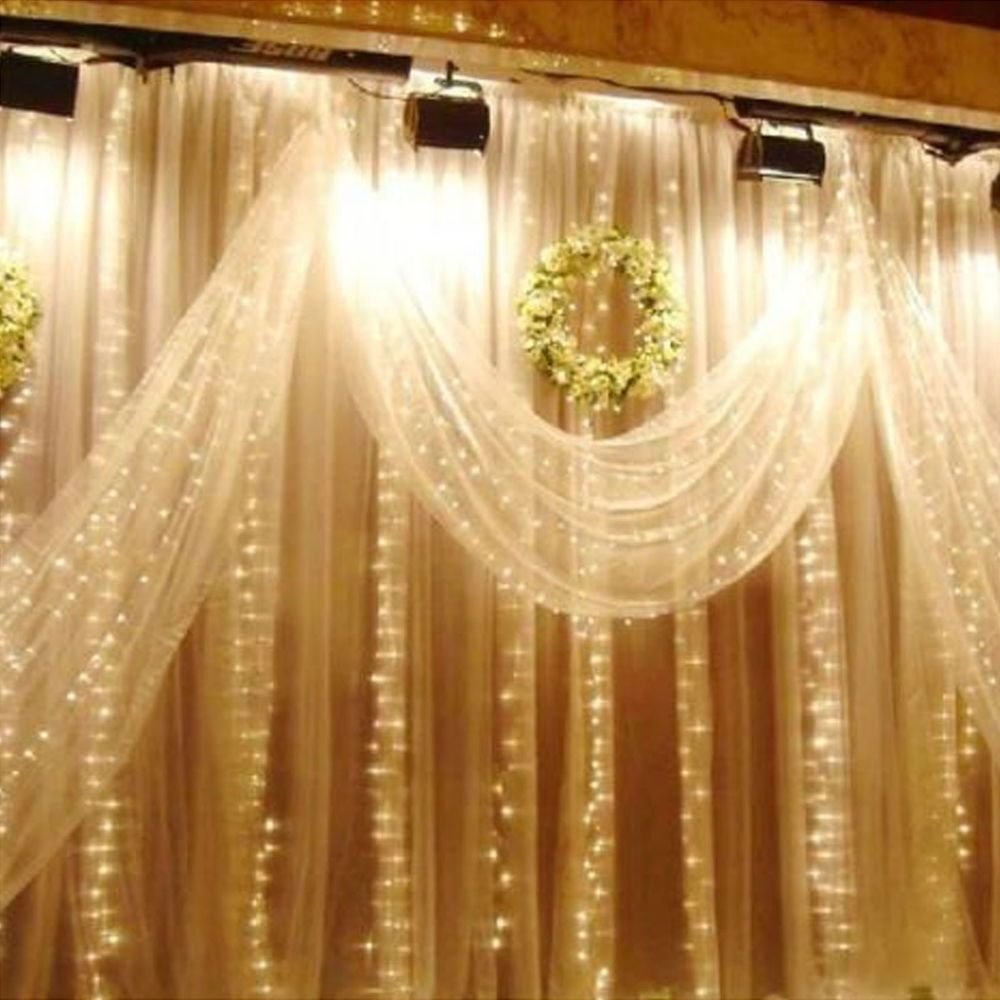 Wedding decorations tulle and lights  M x M  LED String Fairy Curtain Light Christmas Wedding Party