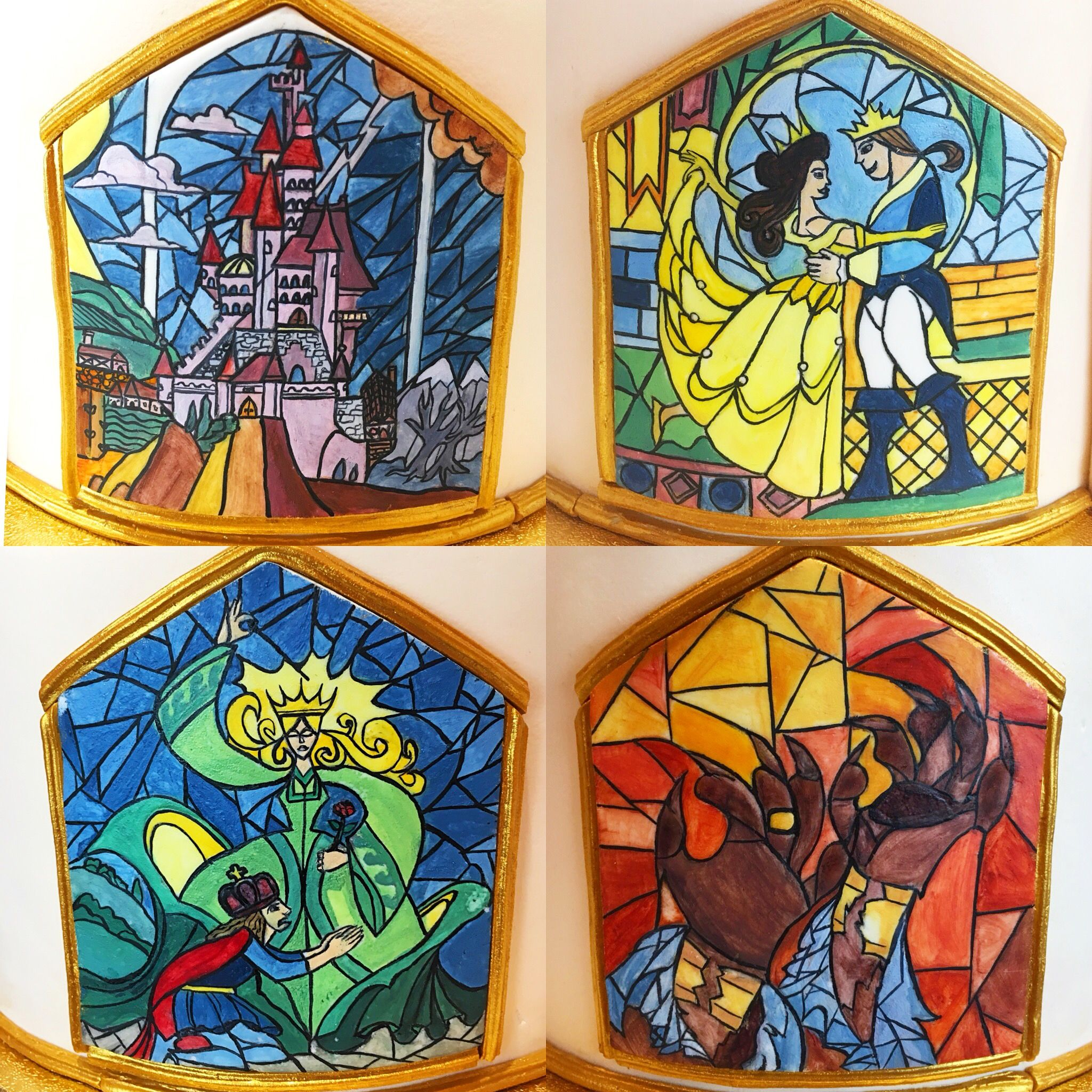 Beauty And The Beast Stained Glass Painted Cake With Images