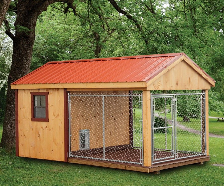 Fully Assembled 8 X 14 Ft Amish 1 Run Dog Kennel With Feed Room Insulated Dog Kennels Metal Dog Kennel Dog Kennel