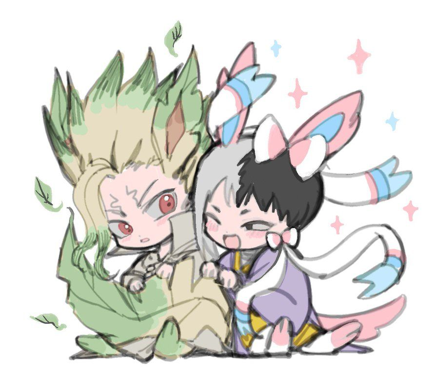 senku ishigami and gen asagiri dr stone ppppp on pixiv ppppp neroronato on twitter stone anime crossover anime