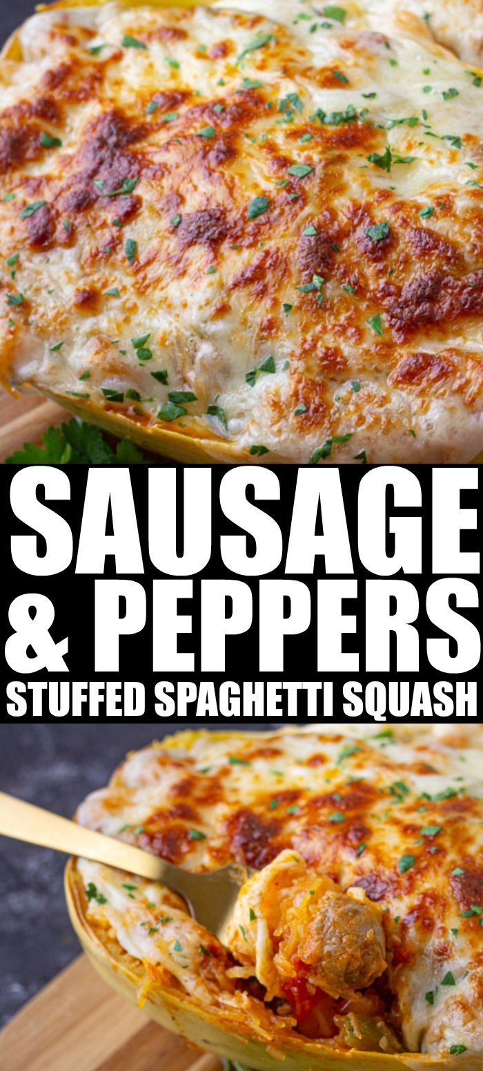 Sausage and Peppers Stuffed Spaghetti Squash