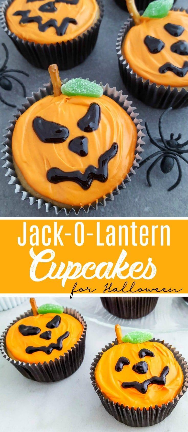 Jack-O-Lantern Cupcakes Recipe for Halloween #jackolantern #halloweenfoods #halloweenpartyideas #HalloweenTreat #halloweencupcakes