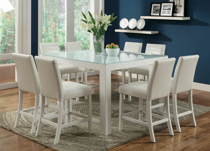 7 Pc Elise II Contemporary Style White Finish Wood Counter Height Dining Table  Set With Frosted