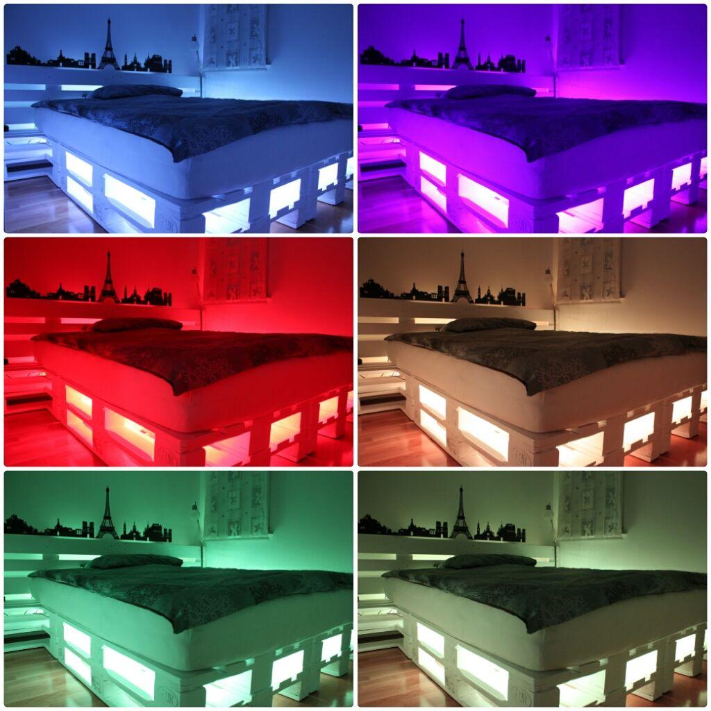 Pallet Bed With Led Light My Pallet Bed Led Bed Maken Voor Het Huis Bed