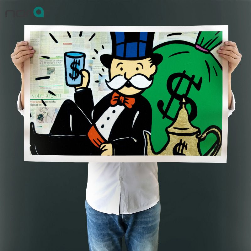 Alec Monopoly Melrose Ave Wall Street Graffiti print Canvas for Wall ...