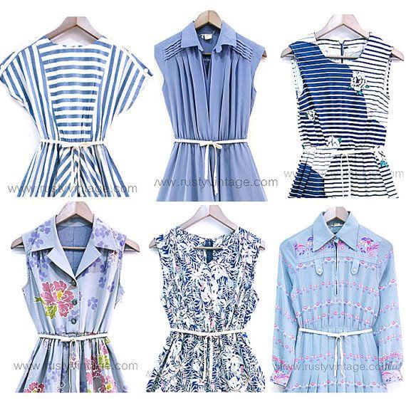 Wholesale Used Vintage Dress Lot Of 10pcs Mix Of 50s 60s 70s 80s Original Casual Retro Blue Vintage Dresses Dresses Wholesale Dress