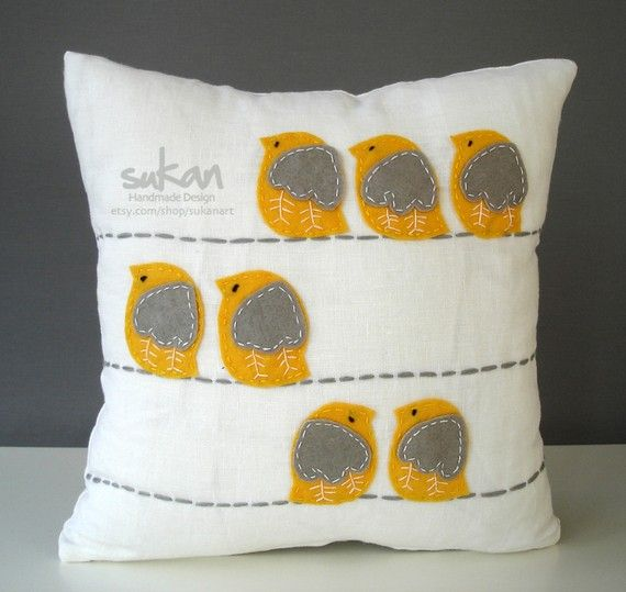 little birdie pillow in yellow and gray!