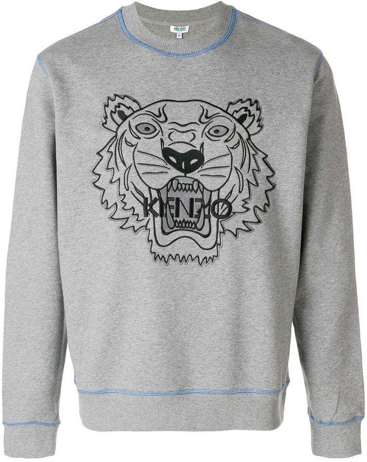 a76eed69 Kenzo embroidered tiger sweatshirt Kenzo Jumper, Mens Jumpers, Grey  Sweatshirt, Graphic Sweatshirt,