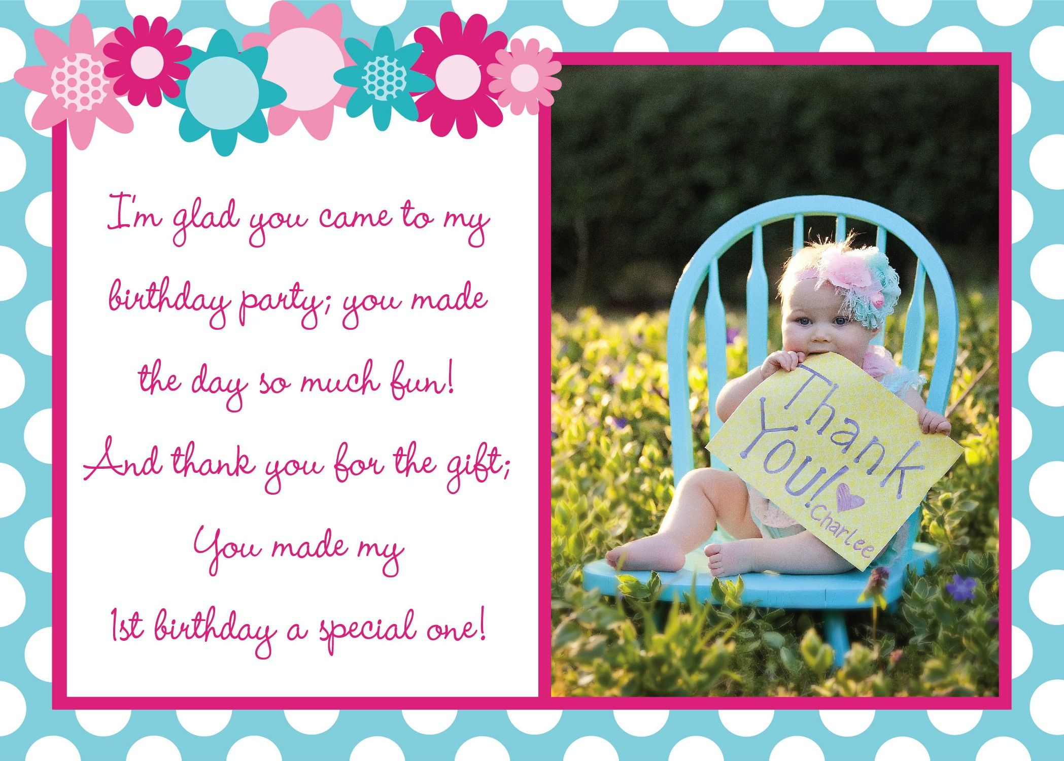 First birthday thank you card charlees first birthday party first birthday thank you card bookmarktalkfo Image collections