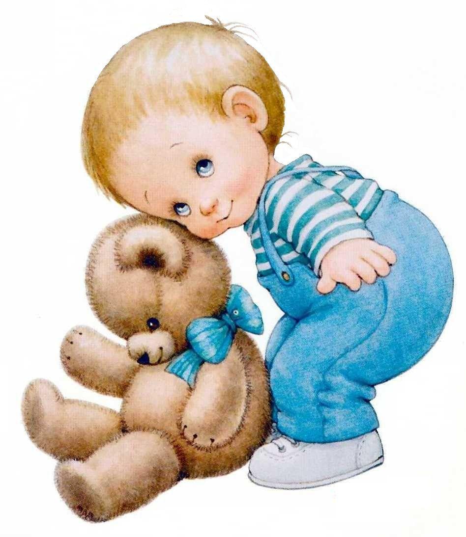 Printable - Boy and Teddy Bear - Ruth Morehead