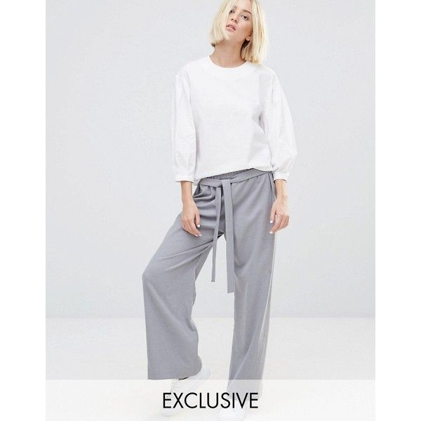 House Of Sunny Wide Leg Pants ($78) ❤ liked on Polyvore featuring pants, grey and tie belt