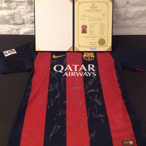 Barcelona Team Signed Jersey Certificate Of Authenticity IncludedEvery signed product is issued with a Certificate of Authenticity , which guarantees that every item has been hand-signed. The certificate includes many security features to avoid duplication and protect your investment.100% Satisfaction or Your Money Backicons.ie#xtor=CS1-41-[share]
