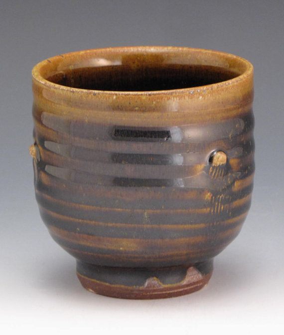 salt fired cup with Temmoku glaze by RonPhilbeckPottery