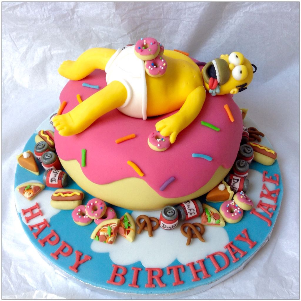 Swell Over Indulgent Homer Simpson On A Giant Donut Cake Feasting On Funny Birthday Cards Online Alyptdamsfinfo