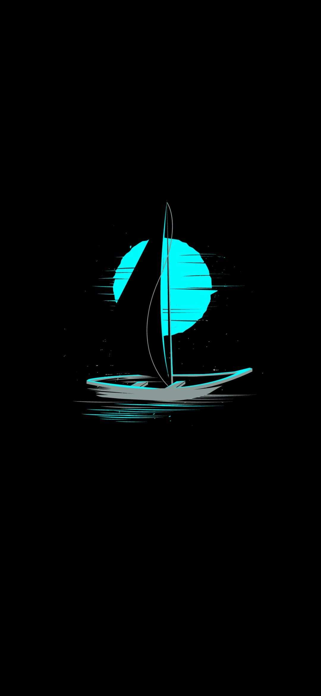 Sail Moon Dark OLED iPhone 4K Wallpapers Download| Traxzee