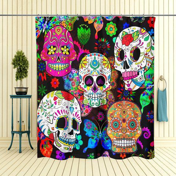 Rocking Color Sugar Skull Shower Curtain Etsy Sugar Skull Shower Curtain Skull Shower Curtain Skull Bedding