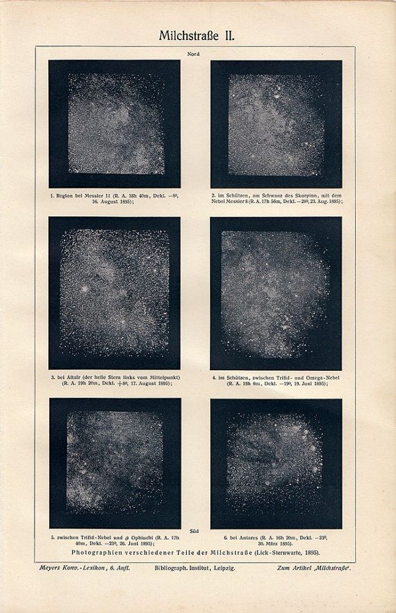vintage astronomy print, Milky Way Galaxy - photographs of various parts of the Milky Way taken in 1895, printed in 1908