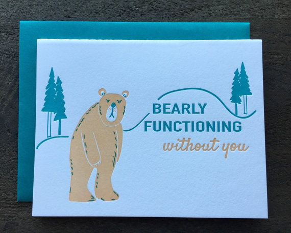 letterpress i miss you card bear bearly pun punny love