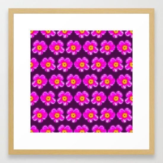 Pink floral pattern on a burgundy background, Girly Pattern Framed Art Print,Choose from a variety of frame styles, colors and sizes to complement your favorite Society6 gallery, or fine art print - made ready to hang. Fine-crafted from solid woods, premium shatterproof acrylic protects the face of the art print, while an acid free dust cover on the back provides a custom finish. All framed art prints include wall hanging hardware.