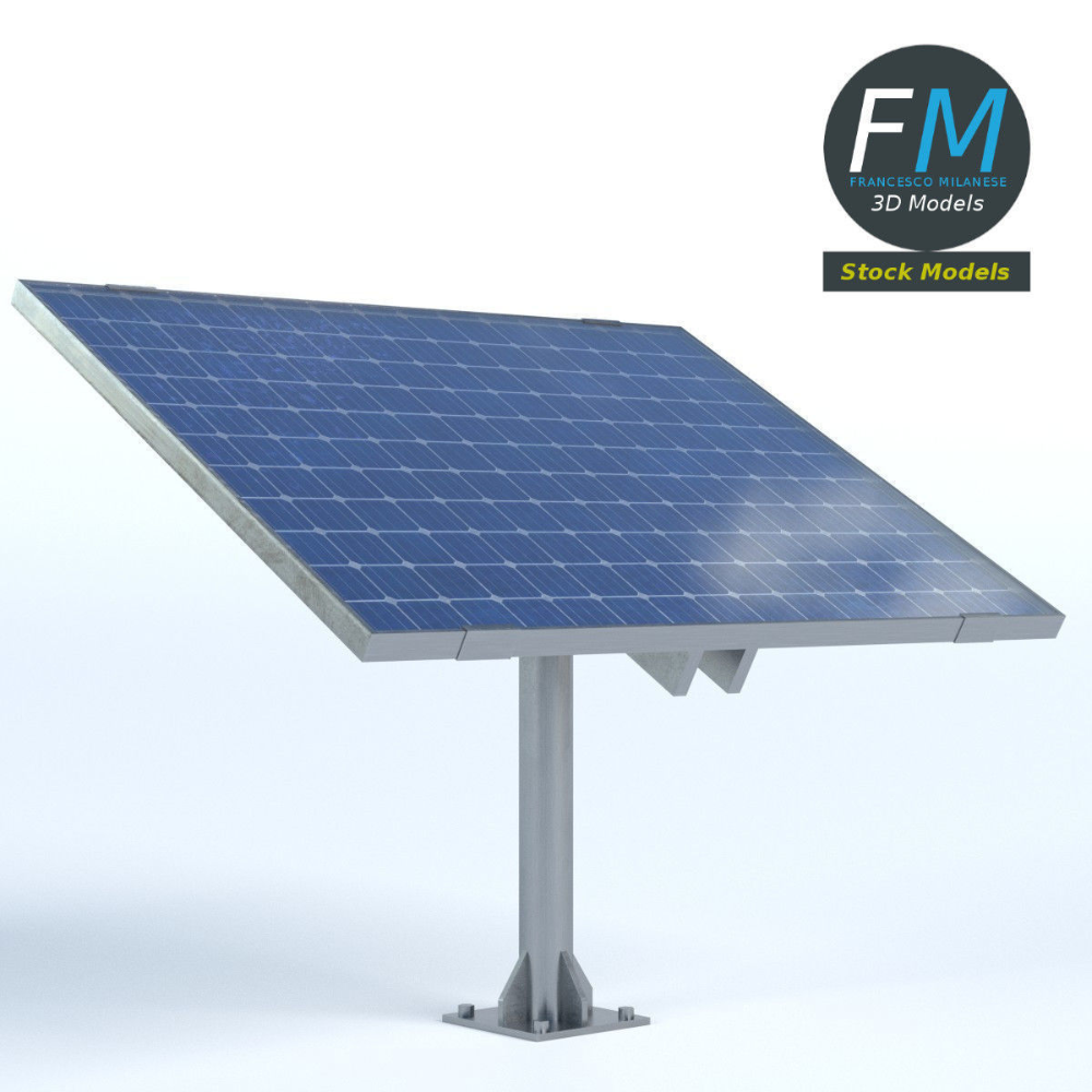 Solar Panel On Pole Stand 3d Model