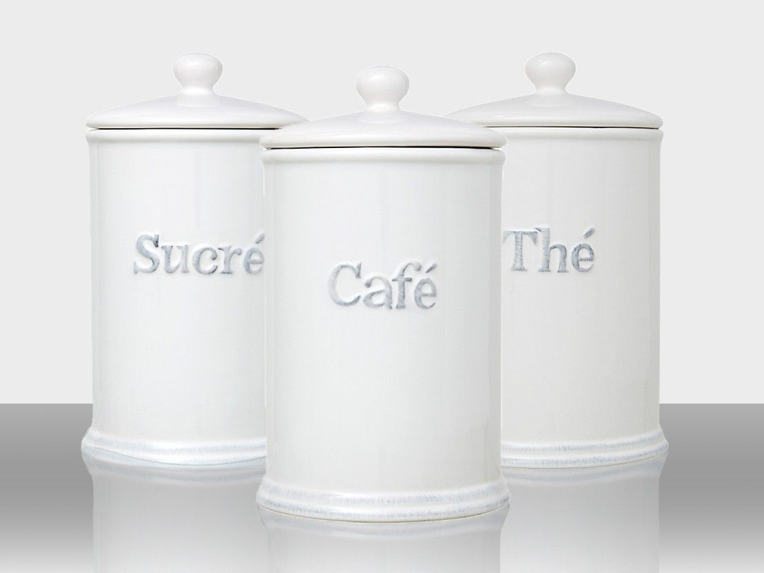 Merveilleux Handy White Ceramic Kitchen Jars With Lid And Rubber Seal For Air Tight  Storage. Each Canister Features The French Word For Tea, Coffee And Sugar;  Thé, ...