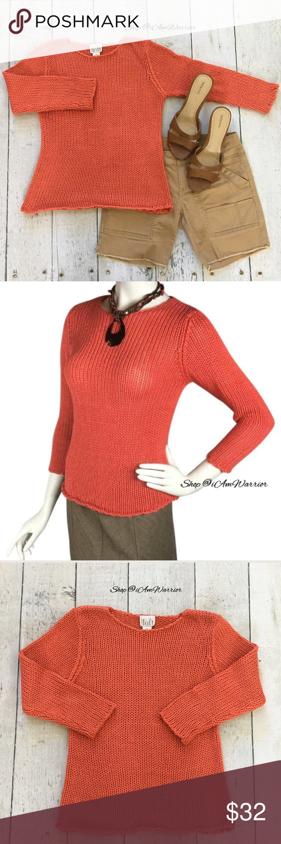 Ann Taylor Loft orange sweater with rolled hem | Loft, Scoop neck ...