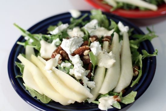 A great pear and pecan salad with a light shallot yogurt dressing.